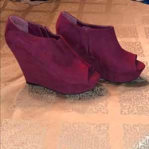 Mossimo Suede Peep-Toe Wedges